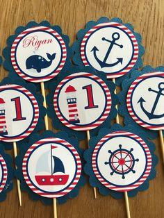 Náutica / barcos personalización Toppers Cupcake cumpleaños. | Etsy