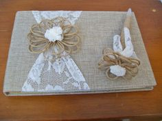 Rustic Guest Book Burlap & Lace Guest Book by weddingbridaldecor
