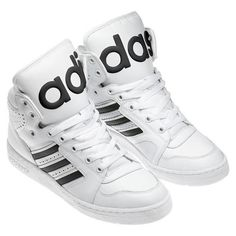 Jeremy Scott Adidas JS Instinct Hi Black/White Shoes found on Polyvore featuring polyvore, fashion, shoes, adidas, adidas footwear, black white shoes, adidas shoes and white black shoes