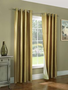 Thermal Curtains - Energy Saving Insulated Drapes and Curtains - Miller Celadon Green Thermalogic Insulated Reversible Faux Silk Curtain Pai. Wide Curtains, Gold Curtains, Grommet Curtains, Colorful Curtains, Panel Curtains, Curtain Panels, Silk Drapes, Hanging Curtains, Blackout Curtains