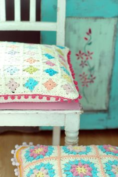 crochet pillow and old painted door