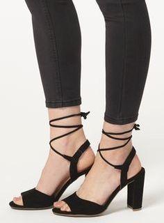 Black 'Sade' Block Ghillie Sandals