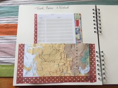 Create pockets with pieces of old maps. I then used an old Cath Kidston diary to create a travel planner and notebook.