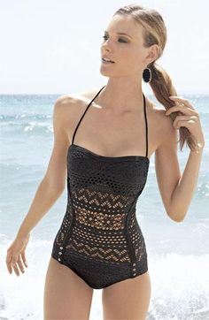 Nordstrom's Top Pin: Robin Piccone 'Penelope' Crochet Overlay One Piece Swimsuit