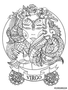 Virgo zodiac sign coloring page for adults | Fotolia 130188224