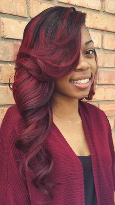 long black and burgundy sew-in