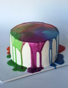 Rainbow Ganache Cake | Cookies and Cups  - I LOVE THIS.