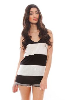 Plank Stripe Tank in Black/White – designed by Twenty on sale USD45 from Singer22. This loose-fitting tank by Twenty has wide stripes, a scoop neck and deep armholes. Measures approximately 28″ from shoulder to hem. SINGER22 model is 5'8″ and wearing a size XS. 100% Viscose, Imported. Twenty Plank Stripe Tank in Black/White  BUY NOW $45 Singer22.com Product Catalog Free USA delivery over $50
