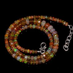 """58CRTS 4to7MM 18"""" ETHIOPIAN OPAL FACETED RONDELLE BEADS NECKLACE OBI1731 #OPALBEADSINDIA"""