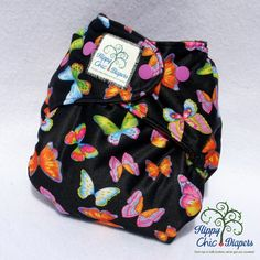 Butterflys on Black One Size Pocket Diaper by HippyChicDiapers on Etsy https://www.etsy.com/listing/230688906/butterflys-on-black-one-size-pocket