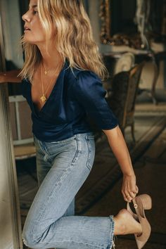 flare jeans and wrap satin blouse