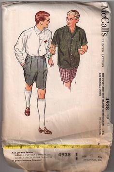1950s Men's Sportswear Pattern - Sport Shirt & Bermuda Shorts