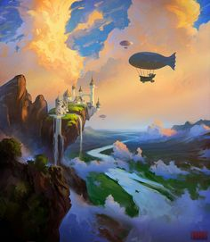 The clouds are well done, but I feel like the castle is the wrong style for the setting. By Rhads on deviantART