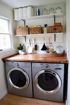 There are so many exciting small laundry room design ideas that you can apply for your small laundry room. Having a laundry room in your house is definitely a must. It ensures that you have fresh and clean clothes at… Continue Reading → Laundry Room Layouts, Laundry Room Remodel, Small Laundry Rooms, Laundry Room Organization, Laundry Room Design, Organization Ideas, Storage Ideas, Laundry Decor, Laundry Shelves