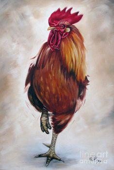 Artist Ilse Kleyn Rooster 17 Of 10 Painting  www.artofkleyn.com