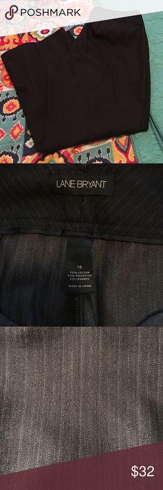 Like new black pinstriped Lane Bryant slacks! Very beautiful black with a light gray thin vertical pinstripe.  Wide leg.  Size 18.  Belt loops, and no pockets.  Worn twice like new!!! Lane Bryant Pants Wide Leg