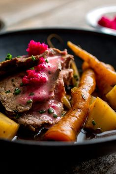 For this modern take on traditional boiled beef, beef tenderloin is very gently simmered (never boiled) with root vegetables in stock, then sliced up rosy rare and dolloped with a homemade horseradish aioli and some flaky sea salt It's piquant, juicy and on the lighter side of a beefy main course The magenta-colored beet horseradish keeps in the fridge for weeks, and it's also great on roast beef sandwiches. (Photo: Andrew Scrivani for The New York Times)