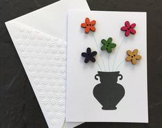 Vase with flower buttons. Hand made Button Vase 3D Blank Card. Mother's Day, Birthday, Thinking of You. Can be sent direct. SC04