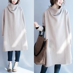 Women cotton loose long sleeve winter dress
