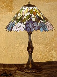 Meyda Tiffany Lamps H Tiffany Wisteria Table Lamp - 31192 Stained Glass Lamp Shades, Stained Glass Light, Stained Glass Patterns, Louis Comfort Tiffany, Antique Lamps, Vintage Lamps, Tiffany Table Lamps, Lamp Table, Studio Lamp