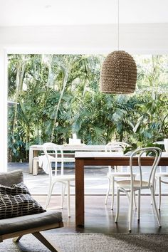 Indoor / outdoor dining at the cottage, The Bower, Byron Bay (design boutique hotel). Outdoor Dining, Outdoor Spaces, Indoor Outdoor, Outdoor Decor, Outdoor Ideas, Outdoor Tables, Patio Dining, Dining Chairs, Byron Bay Accommodation