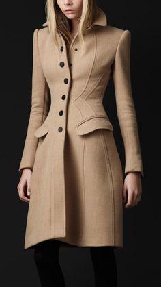Burberry Crpe Wool Tailored Coat 44614201 - iLUXdb.com Realtime Luxury Product Database