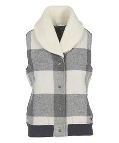 Cream Giant Buffalo Check Wool-Blend Vest