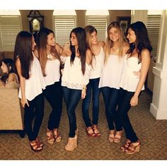 White shirts, jeans, and colored heels