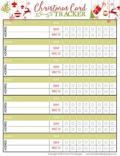 Stay organized this holiday season with our free printable Christmas Card Tracker. Keep everyone on your Christmas Card list in one loaction.