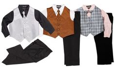 Dress your little boy up with these four-piece shirt, slacks, vest, and tie outfits, which ensure a classy look for special occasions