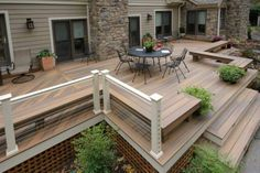 If your deck or porch is elevated, even a little, above grade level, it's best to polish off the underside with landscaping, skirting or other methods. Find and save ideas about Deck skirting ideas on here. Deck Skirting, House Skirting, Deck Colors, Colours, Raised Deck, Deck Landscaping, Custom Decks, Deck Railings, Cable Railing