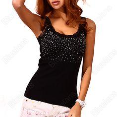 Pas cher Dentelle strass de femmes Superbe Based Gilet sans manches Débardeur Tee T  shirt noir blanc 1OJK, Acheter  Débardeurs de qualité directement des fournisseurs de Chine:       Min . ordre est 1pc .               Élément Spécification :              Taille : Une taille ( ave
