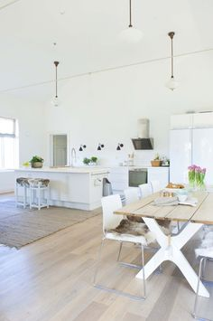 white, pale wood + touches of black