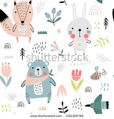 Seamless pattern with cute bear, fox and hare in Scandinavian style. Vector funny illustration for children. Kids Patterns, Wall Patterns, Textile Patterns, Print Patterns, Modern Patterns, Unique Wallpaper, Kids Wallpaper, Wallpaper Roll, Bear Illustration