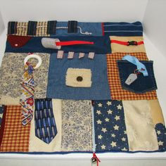 MASCULINE Fidget Quilt Blue JEANS and DENIM for Alzheimer's or Dementia Patients by Restless Remedy