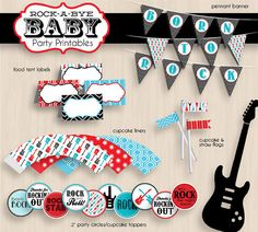diy rockabilly baby shower | ROCK-A-BYE BABY Shower Printable Package in Red, Teal, and Black ...