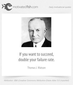 If you want to succeed, double your failure rate. (Thomas J. Watson)
