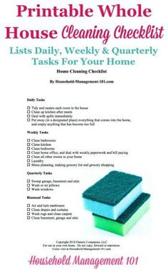 Free #printable whole house cleaning checklist giving a big picture overview of daily, weekly and quarterly tasks to do to keep your home clean {courtesy of Household Management 101} #CleaningChecklist #CleaningTips House Cleaning Checklist, Household Cleaning Tips, Diy Cleaning Products, Cleaning Solutions, Cleaning Hacks, Cleaning Schedules, Cleaning Lists, Weekly Cleaning, Organizing Tips