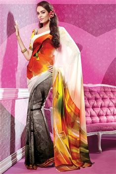 Grey, White Georgette Digital Printed Saree