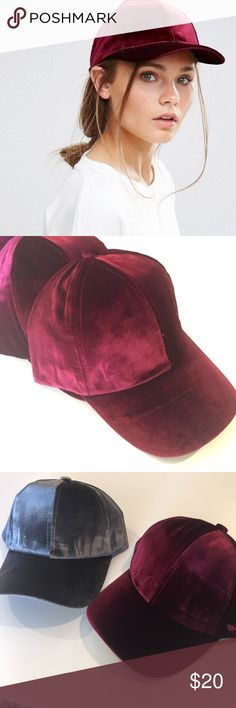Burgundy velvet baseball cap Brand new! Boutique item! Adjustable back super soft velvet  Nasty gal for exposure Nasty Gal Accessories Hats