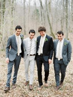 Mismatched groomsmen attire is totally in right now. And it is a much more affordable option for the guys. wedding party How to Choose Groomsmen (The Ultimate Guide) Groomsmen Trends, Mismatched Groomsmen, Groomsmen Grey, Groom And Groomsmen Attire, Bridesmaids And Groomsmen, Wedding Groom, Wedding Men, Farm Wedding, Wedding Attire