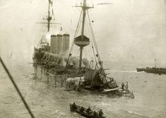 WWI, 1914; HMS Hermes sinking after a succesfull torpedo attack in the straight of Dover.