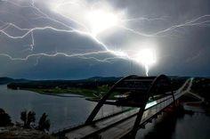 Stunning Photo of Austin's Pennybacker Bridge and Lightning