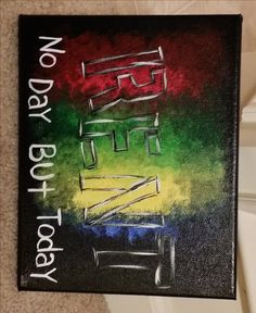 """RENT Musical """"No day but today"""" Quote Artwork Hand-Painted Acrylic Canvas"""