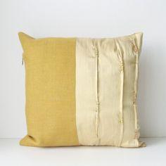 mustard & cream pillow