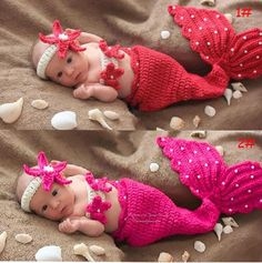 cosplay weapon on sale at reasonable prices, buy Cute small Mermaid newborn photography props handmade Crochet Knit Costume Outfit Mermaid Headband+bra+Tail Pearl baby Cosplay from mobile site on Aliexpress Now! Crochet Baby Cocoon, Crochet Bebe, Crochet Baby Clothes, Newborn Crochet, Crochet Tutu, Knit Crochet, Beach Crochet, Baby Set, Baby Kostüm