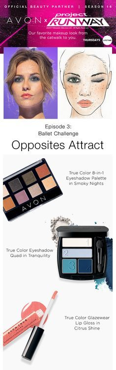 Get the Opposites Attract look created by Avon Lead Makeup Artist Hector Simancas! Project Runway Get the Look Episode 3: Opposites Attract    #AvonxProjectRunway #AvonRep wwwYouravon.com/cbrenda007
