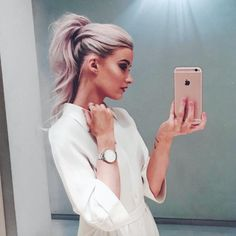 pink ponytail in the frow victoria magrath loreal red obsession party paris fashion week pfw