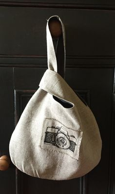 Linen Japanese Knot Bag with Vintage Camera by VirginiaWay on Etsy