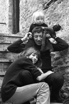 Jane Birkin & Serge Gainsbourg with Jane's first daughter Kate from her marriage to compos...